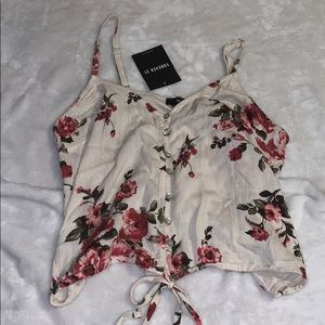 Tan Floral Button Up Cropped Shirt